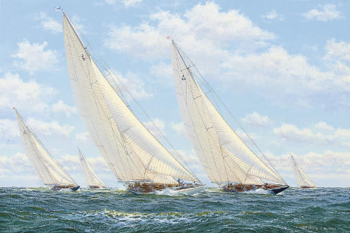 The New York Yacht Club's Cruise, 1937:  Ranger and Endeavour leading Endeavour (II), Rainbow and Yankee