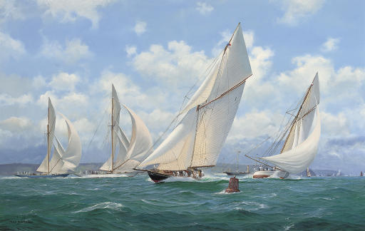 Britannia leading the fleet having rounded the turning mark, with the crew of Candida dropping her spinnaker as she approaches, and Lulworth and Shamrock running downwind towards the mark