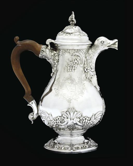 A FINE GEORGE II SILVER COFFEE-POT