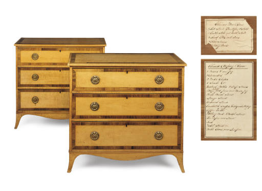 A PAIR OF GEORGE III SYCAMORE CHESTS