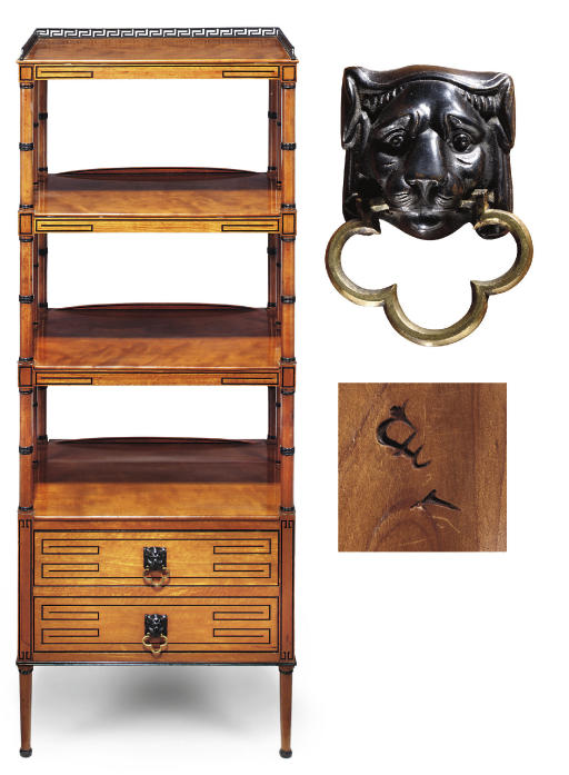A REGENCY SATINWOOD AND EBONISED INLAID FOUR-TIER ETAGERE