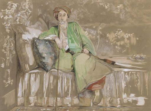 Jean Caradja, Voivod of Wallachia, seated on a divan