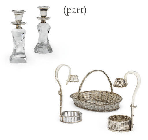 A PAIR OF VICTORIAN SILVER-MOUNTED GLASS CANDLESTICKS