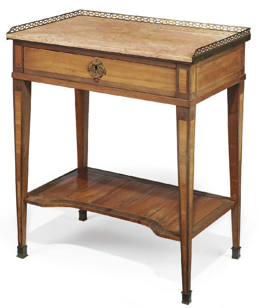 A LOUIS XVI ORMOLU-MOUNTED TULIPWOOD AND AMARANTH WRITING TABLE