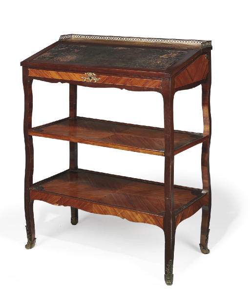 A LATE LOUIS XV ORMOLU-MOUNTED TULIPWOOD, ARAMANTH AND BOIS SATINÉ READING STAND 'PUPITRE'