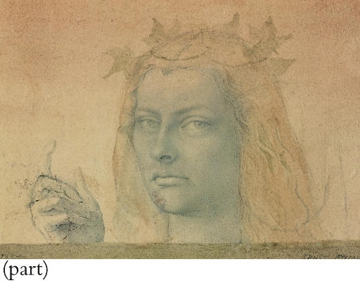 A head study of a girl wearing an ivy crown