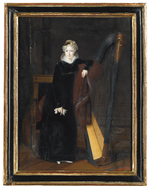 Portrait of a Lady in a black dress with white lace collar, standing beside a harp