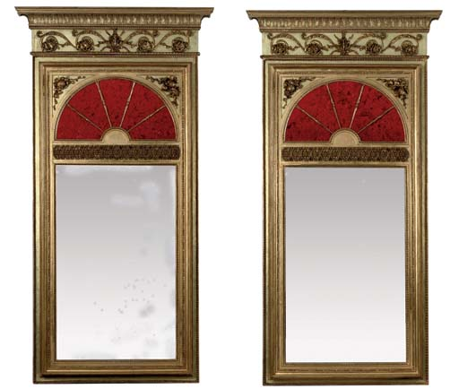 A PAIR OF SWEDISH GILTWOOD AND RED-GLASS MIRRORS