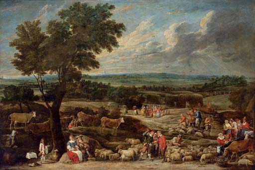 A livestock market in an extensive landscape with Antwerp in the distance