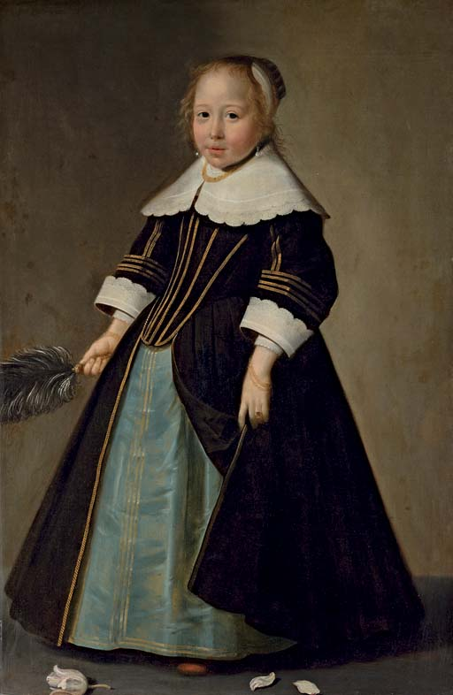 Portrait of a girl, full-length, in a blue and black dress with gold trimming, with white lace collar and sleeves, holding an ostrich feather fan