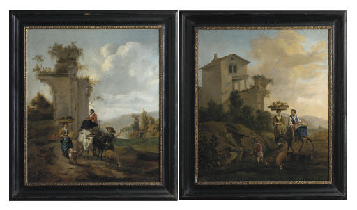An Italianate landscape with village women travelling to market with a donkey; and An Italianate landscape with villagers and an ox-cart