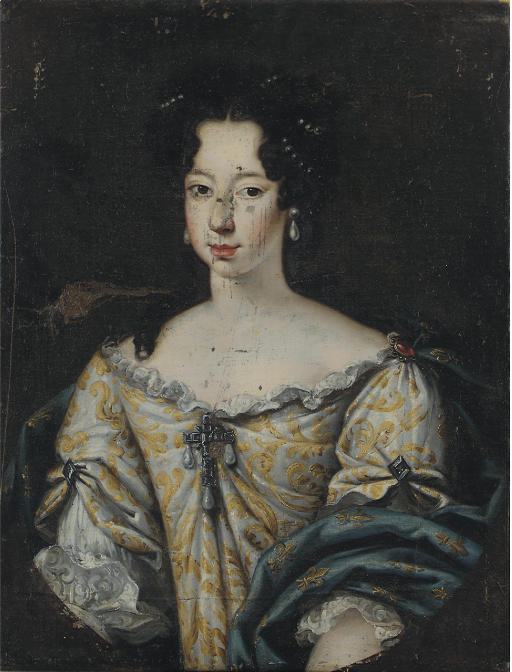 Portrait of Anne-Marie d'Orléans, Queen of Sardinia (1666-1728), bust-length, in a gold embroidered silver dress and blue shawl with fleur-de-lys, in a feigned oval
