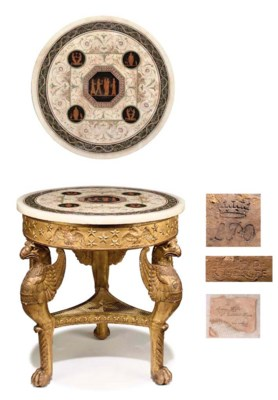 AN EMPIRE GILTWOOD AND SCAGLIO