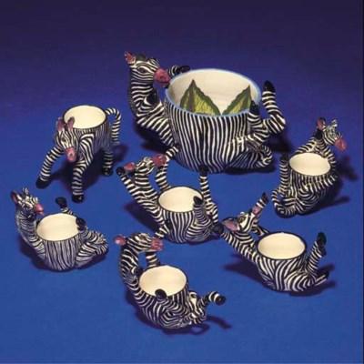 SIX ZEBRA EGG CUPS