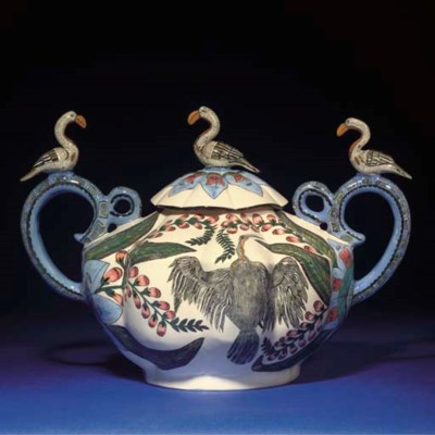 A BIRD TUREEN AND COVER