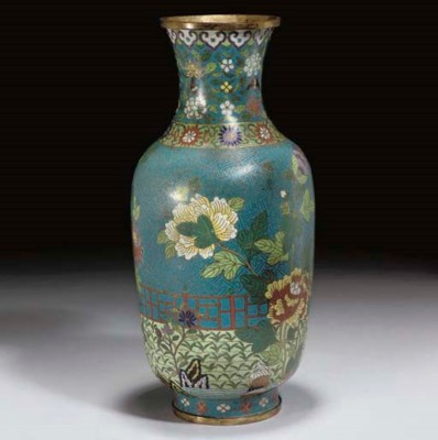 A Chinese cloisonne vase, Jiaq