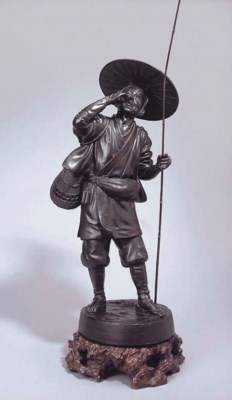 A Japanese bronze model of a f