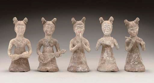 Five pottery figures of female