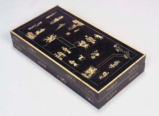 A Chinese rectangular black la