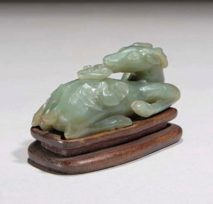 A Chinese green jade deer grou
