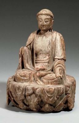 A wood figure of Buddha, Yuan/