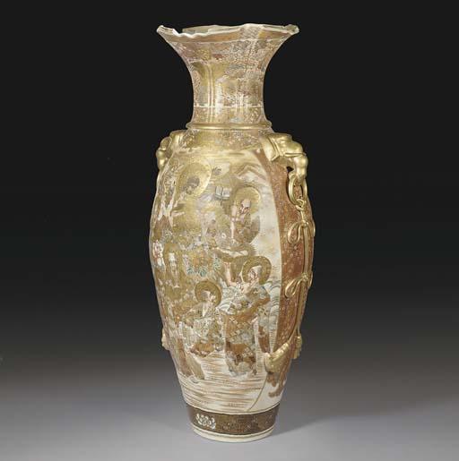 A large Japanese Satsuma baluster vase, 19th Century