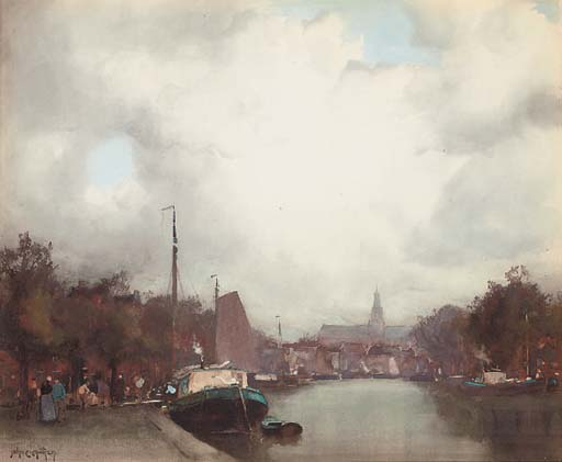 A Dutch barge on a canal, Amsterdam