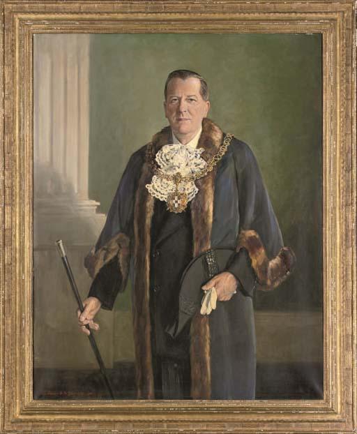 Portrait of Harold Dutton Podmore Esq., Sheriff of Lichfield, three-quarter-length, in official dress