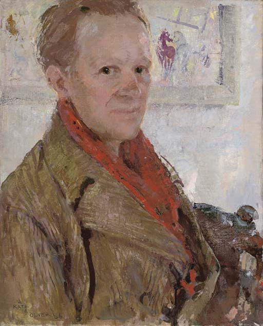 Portrait of Charles Higgins, the artist's husband, half-length, in a red scarf