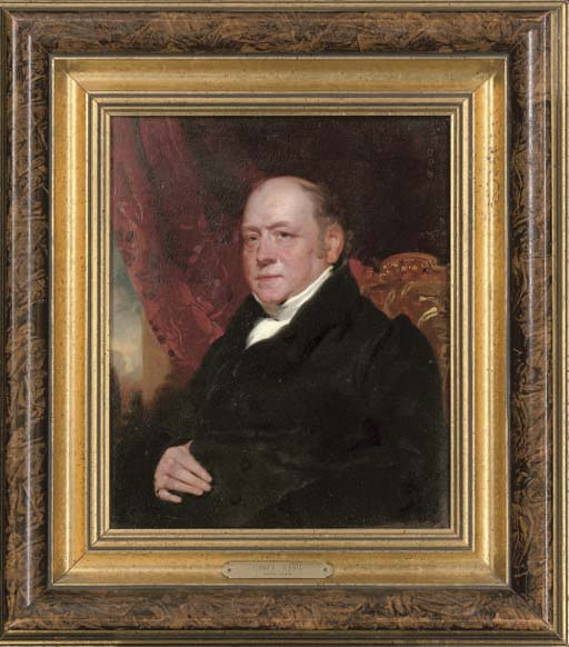 Portrait of Sir George Farrant (c.1770-1844), seated half-length, in a white shirt and black coat
