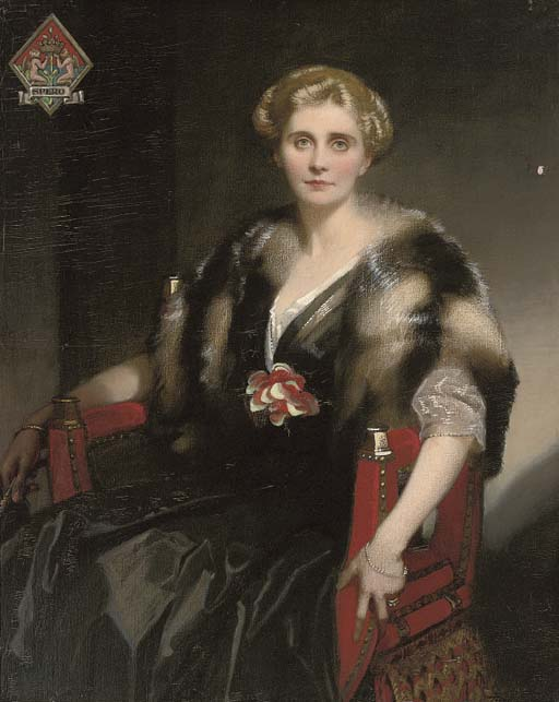 Portrait of Mrs Stephen Cox, three-quarter-length, in a fur wrap, the Spero coat of arms to the upper left