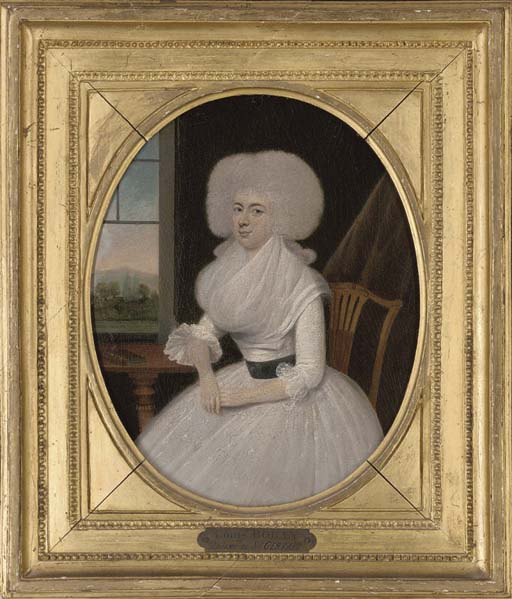 Portrait of a lady, three-quarter-length, in a white dress