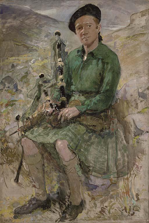 Portrait of Charles Higgins, the artist's husband, seated full-length, in Highland dress
