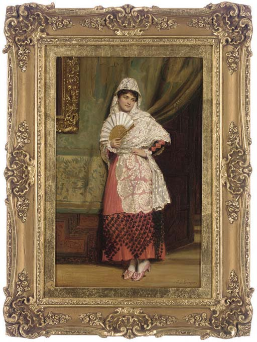 A Spanish lady with a fan in an interior