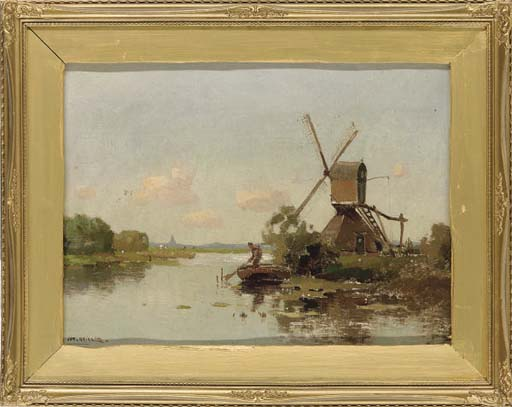 Tethering his boat beside the windmill