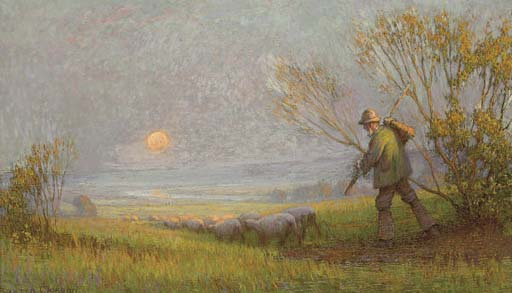 A shepherd and his flock returning home