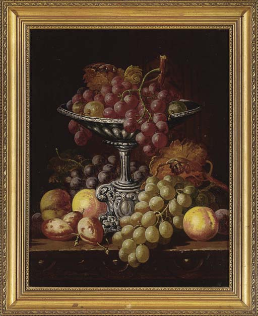 Grapes, peaches and apricots on a table; and Dead game and fruit on a table