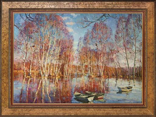 Boats on a lake, autumn
