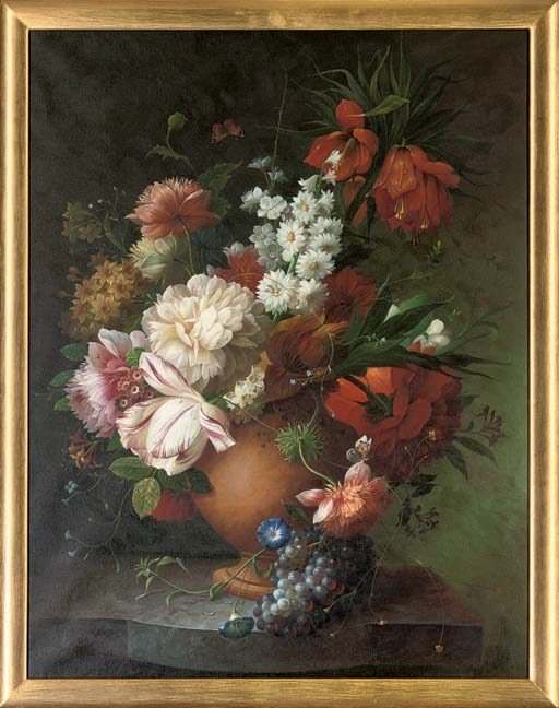Summer flowers, including tulips, poppies, peonies and petunia's in a vase; and Roses, tulips, poppies, narcissi and other flowers in a vase