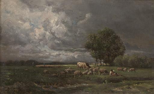 Shepherds grazing their flock