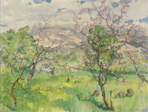 A shepherd and his flock in an orchard