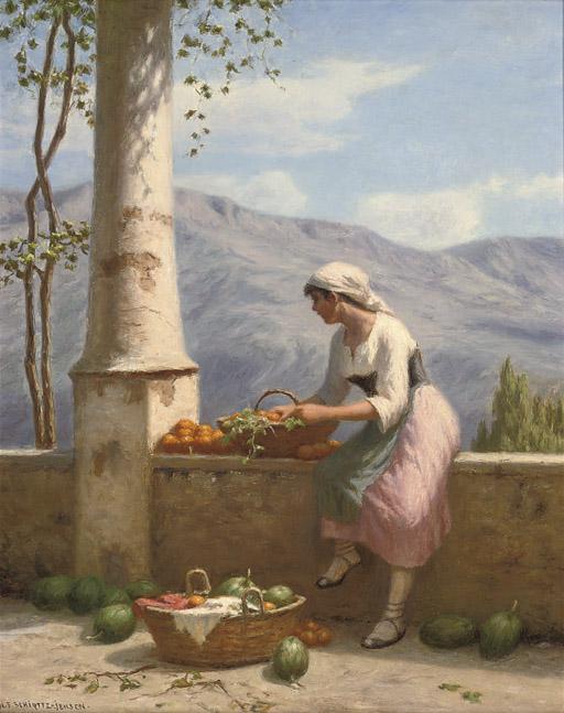 Sorting fruit on the balcony