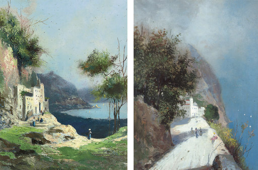 On the way to market; and Peasant girls on a coastal track, Capri