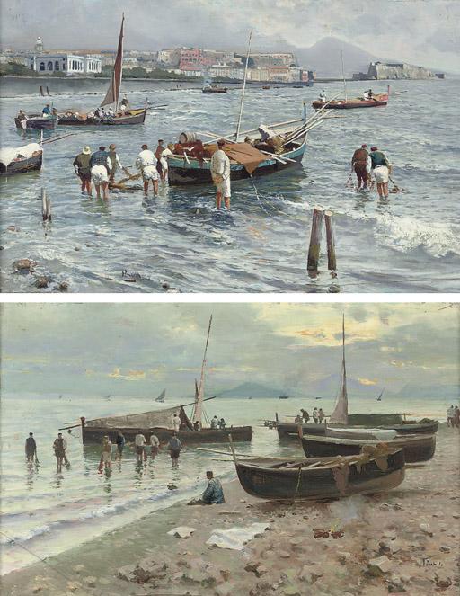 Pescatori presso la Baia di Napoli; and Ritorno dei pescatori al tramonto con la pesca