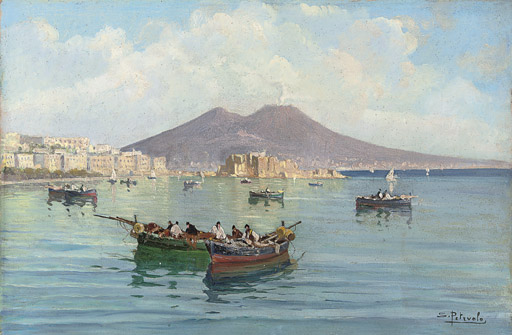 Fishing boats in the Bay of Naples, Vesuvius beyond