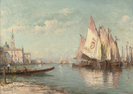 Fishing vessels moored off Venice