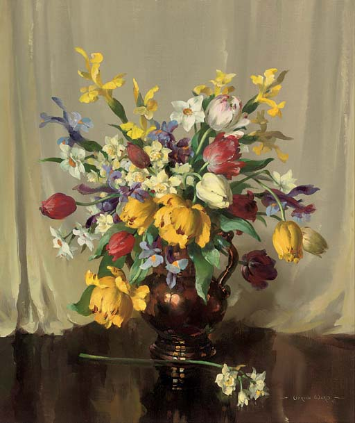 Tulips, irises and narcissi in a copper jug