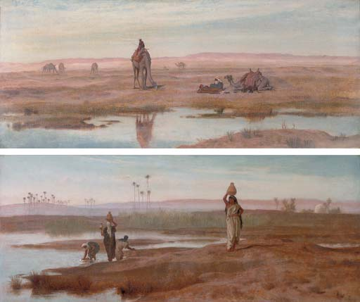 Bedouin women getting water for the camp on a misty morning in the Nile Valley; and Figures with camels resting beside a river