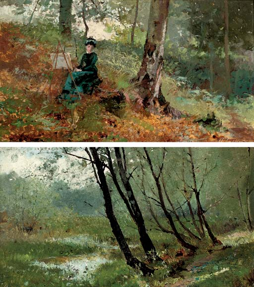 A lady artist in a wood; and A wooded river landscape
