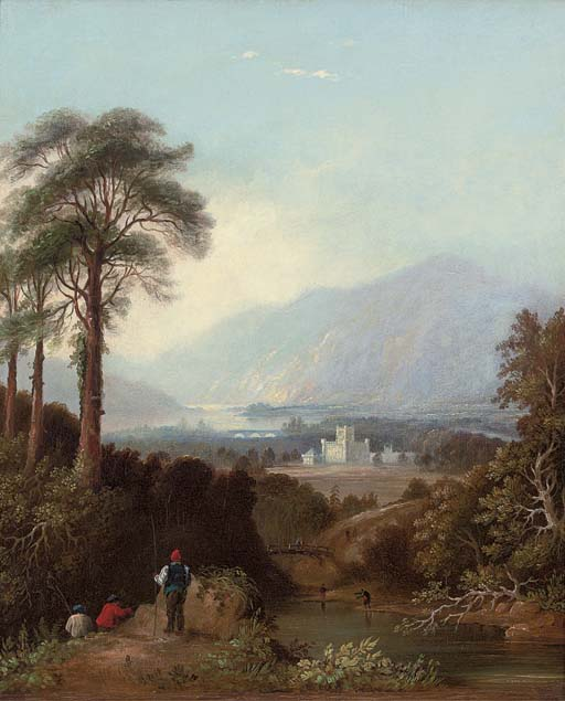 Fishermen by the River Tay, Perthshire, with Taymouth Castle beyond
